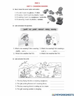 Interactive worksheet PREP 3 - Unit 5 Lessons 1 and 2