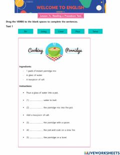 Interactive worksheet Lesson 7c - Reading a Procedure Text