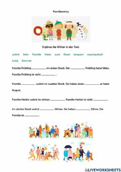 Interactive worksheet Familienstory