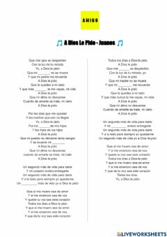 Interactive worksheet A Dios le Pido