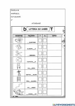 Interactive worksheet Uso do t ou d