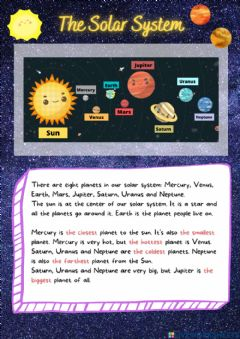 Interactive worksheet Reading - The solar system