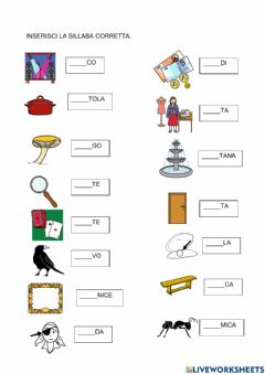 Interactive worksheet Sillabe con lettere ponte