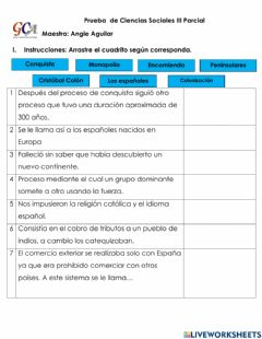 Interactive worksheet Prueba final 4to ccss