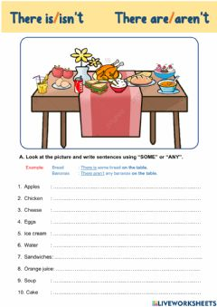 Interactive worksheet There is-There are -- Some - Any