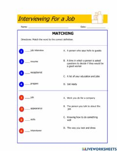 Ficha interactiva Interviewing for a Job-Matching