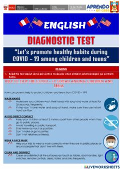 Interactive worksheet Diagnostic Test - COVID 19