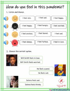 Interactive worksheet How do you feel in this pandemic?