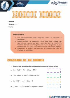 Interactive worksheet Productos Notables 3