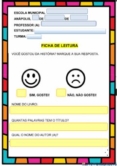 Interactive worksheet Ficha literaria