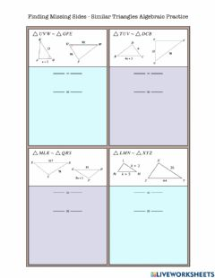 Interactive worksheet Finding Missing Sides - Alg Similar Triangle Practice