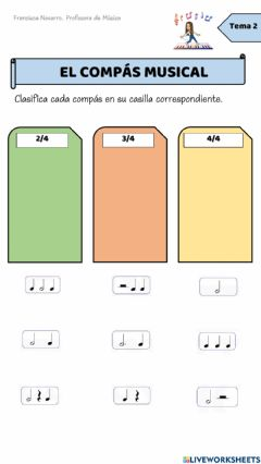 Interactive worksheet COMPASES MUSICALES