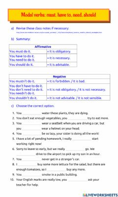 Ficha interactiva Modal verbs: must, have to, need, should