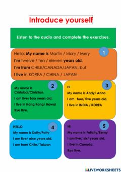 Interactive worksheet Introduce yourself
