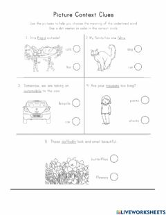 Interactive worksheet Context clues