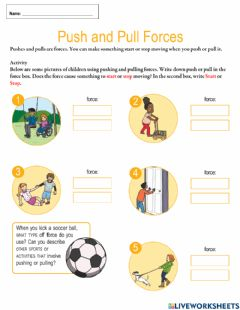 Interactive worksheet Push and Pull Activities