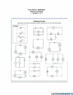 Interactive worksheet open and closed circuit