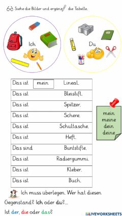 Interactive worksheet Possessivepronomen: mein und dein