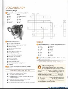 Interactive worksheet Vocabulary about describing things