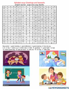 Interactive worksheet Alphabet soup Greetings and Farewells
