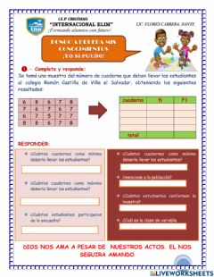 Interactive worksheet Frecuencia absoluta y frecuencia absoluta  acumulada