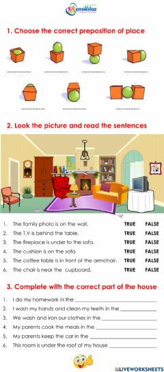 Ficha interactiva Preposition of place and Parts of the house