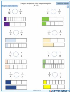 Interactive worksheet Comparing UNIT Fractions