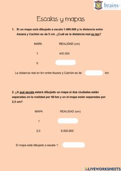 Interactive worksheet Escalas y mapas