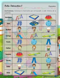 Interactive worksheet Playground, clothes, family - 1.10.Pre