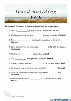 Interactive worksheet Word Building FCE