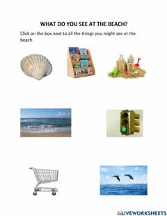 Interactive worksheet What Do You See at the Beach?