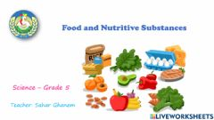 Ficha interactiva Food and Nutritive substances