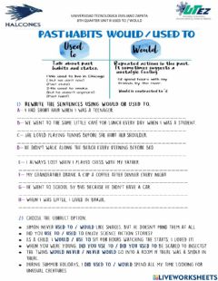 Interactive worksheet Used to - would