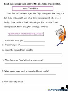 Interactive worksheet Reading Comprehension: Flora Flew to Florida