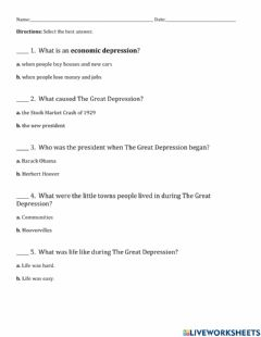 Ficha interactiva Great Depression Questions (multiple choice)