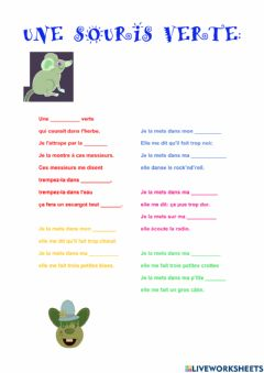 Interactive worksheet Une souris verte