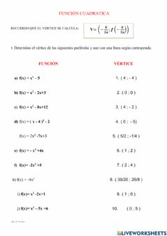 Interactive worksheet Funcion cuadratica, ejercicios