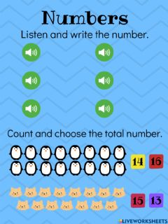 Interactive worksheet Numbers 11 to 16