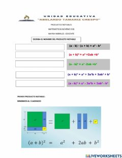 Interactive worksheet Productos notables