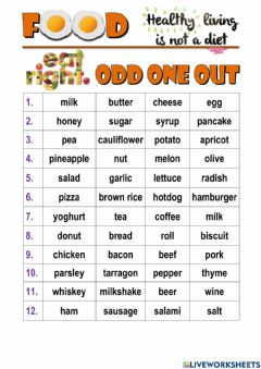 Interactive worksheet Food - Odd One Out