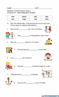 Interactive worksheet Foundational Skills