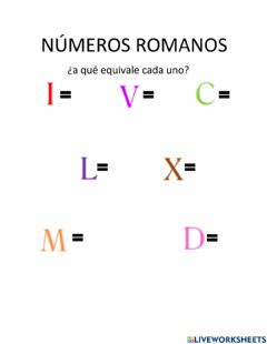 Interactive worksheet Numeros rimanos