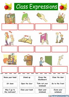 Interactive worksheet Classroom commands
