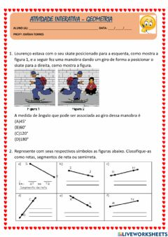 Interactive worksheet Retas e ângulos