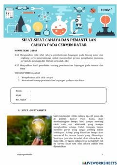 Interactive worksheet Cahaya dan Optik