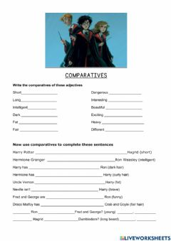 Interactive worksheet Descriptions and comparatives Harry Potter