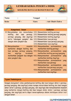 Interactive worksheet Keliling dan Luas