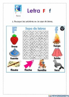 Interactive worksheet Letra f