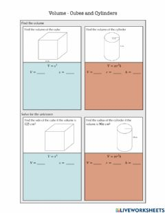 Ficha interactiva Volume - Cube and Cylinders Notes