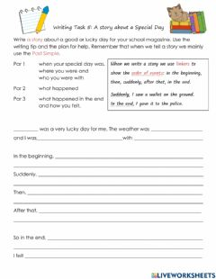 Interactive worksheet Writing: Story about a Special Day with Prompts